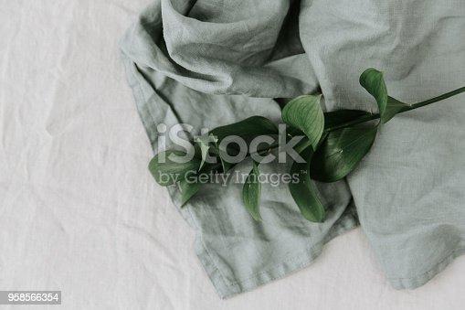 655667160 istock photo Green leaf on linen napkin 958566354