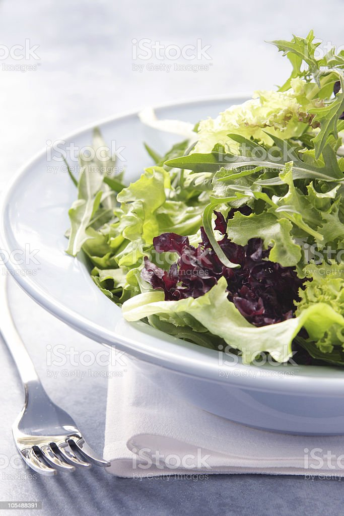 Green leaf salad in a white dish next to a silver fork stock photo