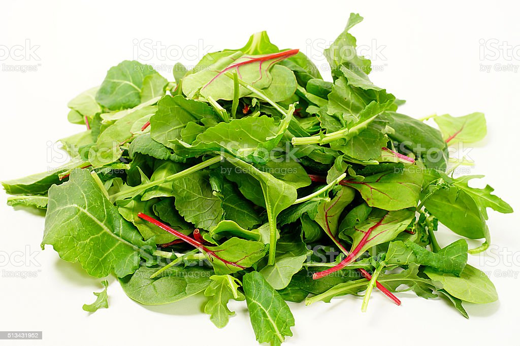 Green Leaf Vegetables: Kale and Spinach stock photo