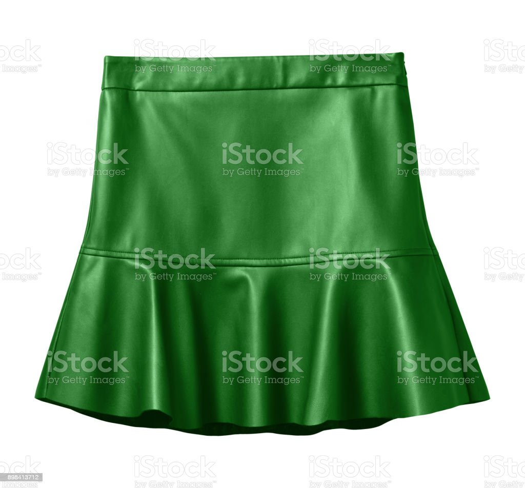 Green leather skirt with flounce isolated on white stock photo