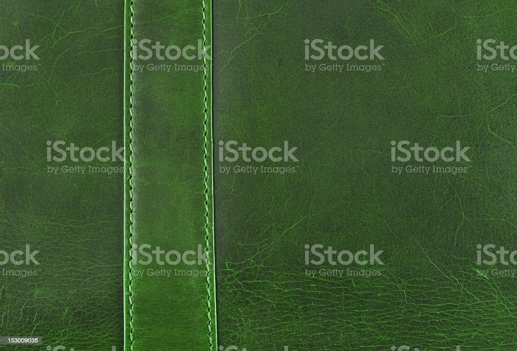 green leather texture with seam stock photo
