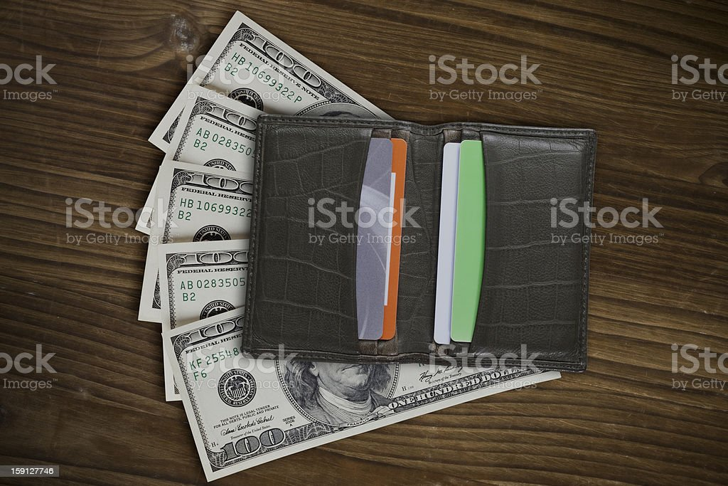 Green Leather Wallet on a White Background royalty-free stock photo