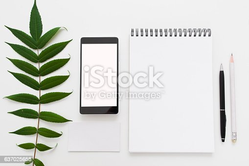 istock Green leave, blank notepad and smartphone flat lay 637025658