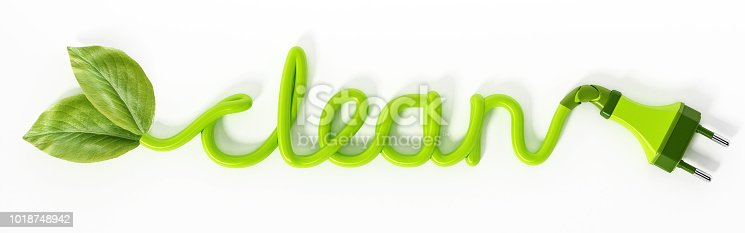 Green leaves and electric plug at the end sides of the word clean isolated on white.