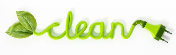 green leaves and electric plug at the end sides of the word clean - tree logo stock photos and pictures