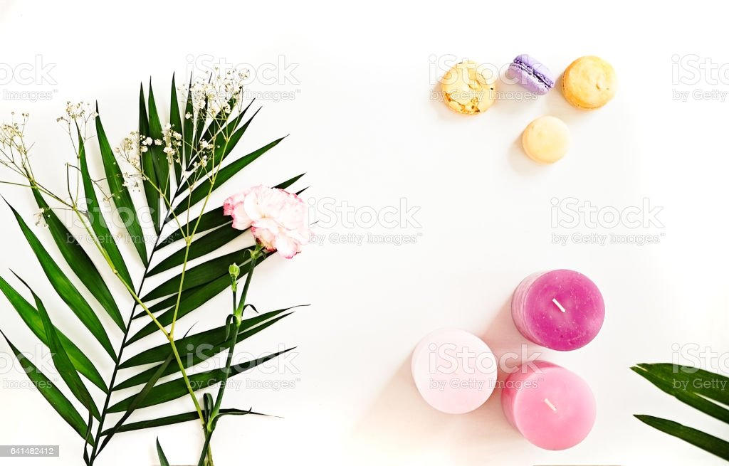 Green leaves, candles, flower, macaroons on white. Beauty flat lay stock photo