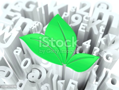istock Green Leaves Sign on Alphabet Background. 178121076