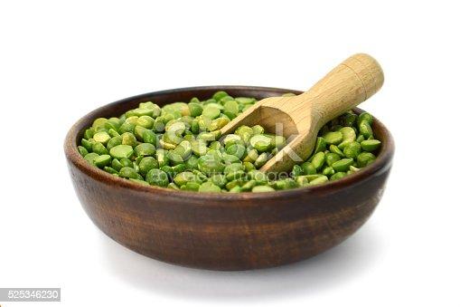 Green lentil beans in wooden bowl