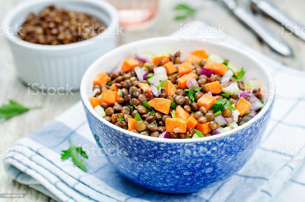green lentils carrots celery salad stock photo