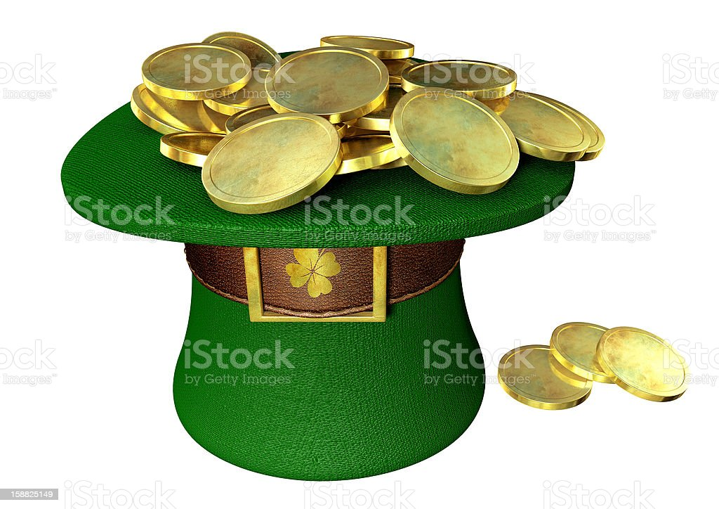 Green Leprechaun Hat Filled With Gold Coins royalty-free stock photo