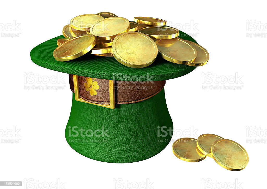 Green Leprechaun Hat Filled With Gold Coins stock photo