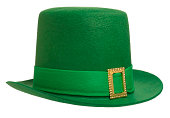This is a photo of a green Leprechaun's hat taken in the studio on a white background. Click on the links below to view lightboxes.