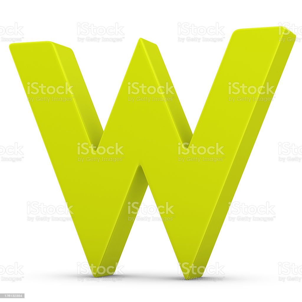 green letter W royalty-free stock photo
