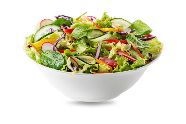 Green lettuce salad with mixed vegetables stock photo