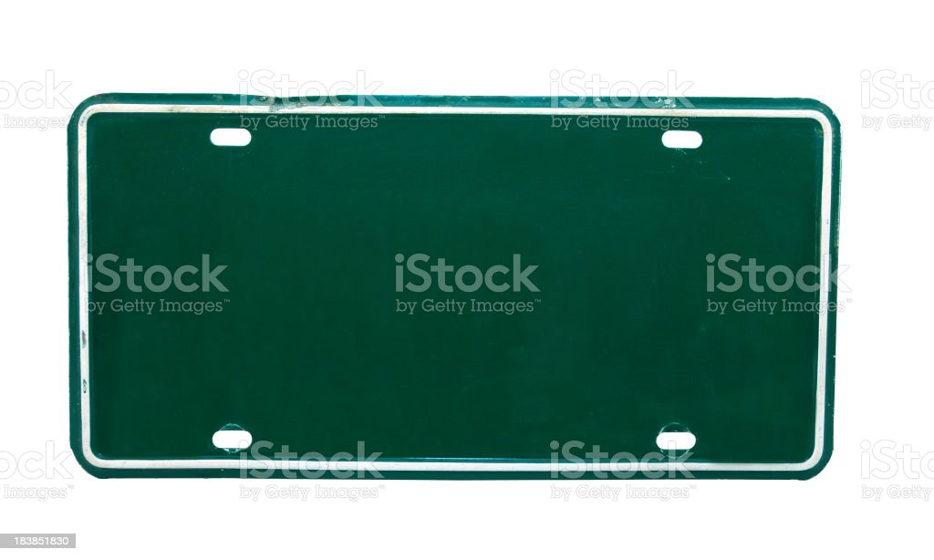 Green License Plate stock photo