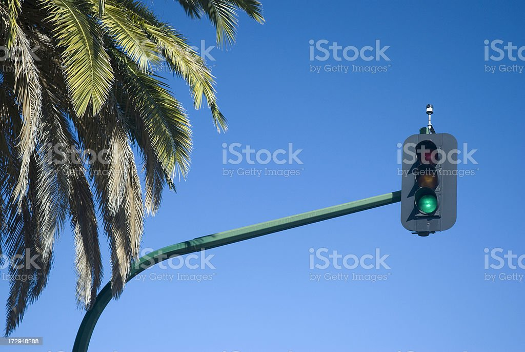 Green Light Against Blue Sky royalty-free stock photo