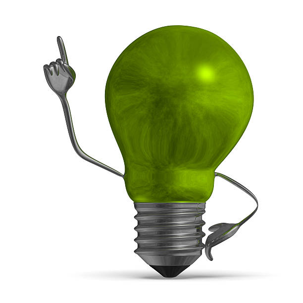 Green light bulb character in moment of insight isolated Smoky green light bulb character in moment of insight isolated aha stock pictures, royalty-free photos & images