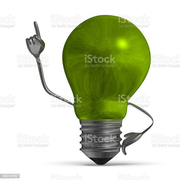 Green Light Bulb Character In Moment Of Insight Isolated Stock Photo - Download Image Now