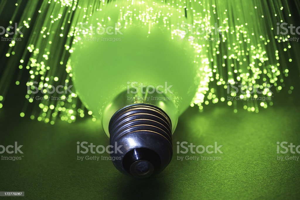 Green Light Bulb stock photo