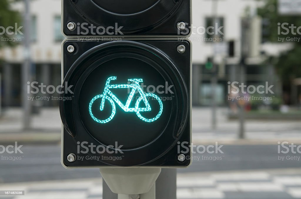 Green light for bicycle royalty-free stock photo