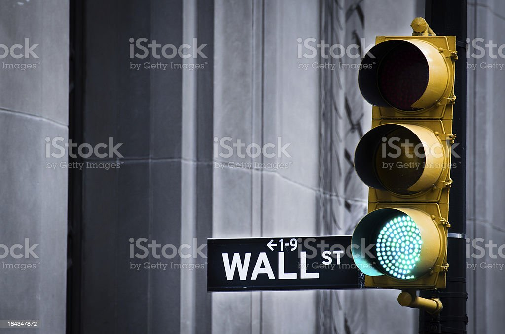 Green Light On Wall Street stock photo