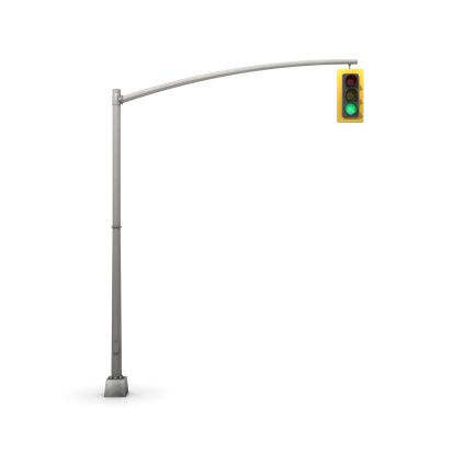 Stoplight with the green light signal on in a white environment.