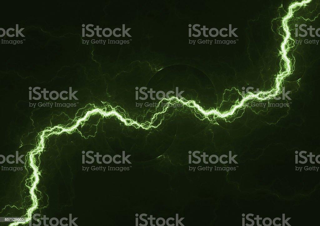 Rayo verde, fondo eléctrico de plasma - foto de stock