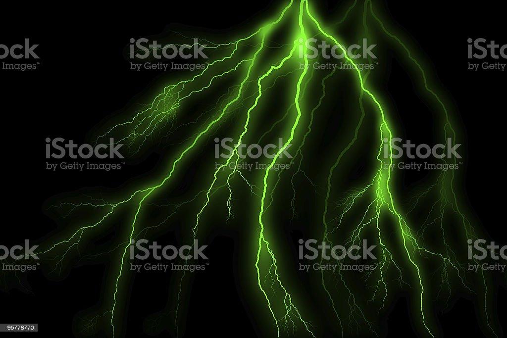 Green Lightning Strike stock photo