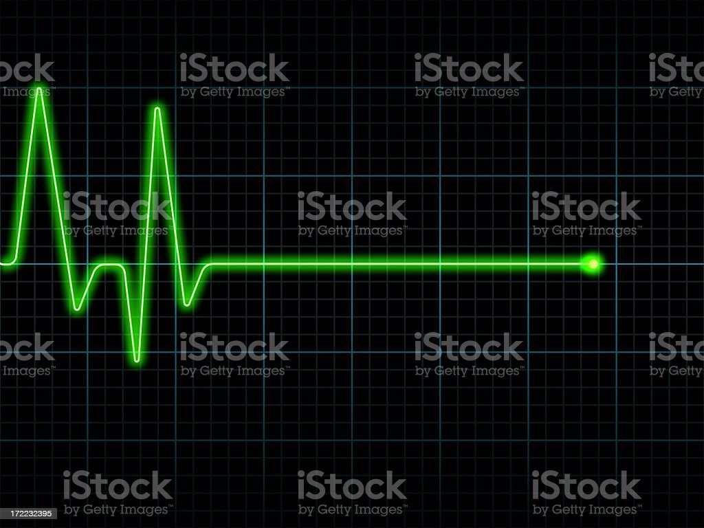 A green line from an Electrocardiogram ECG / EKG royalty-free stock photo