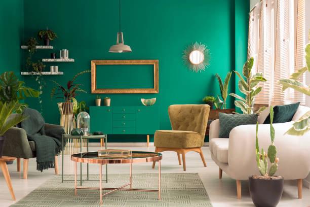 grüne wohnzimmer interieur - oliven wohnzimmer stock-fotos und bilder