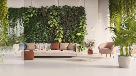 3D render of a modern green home