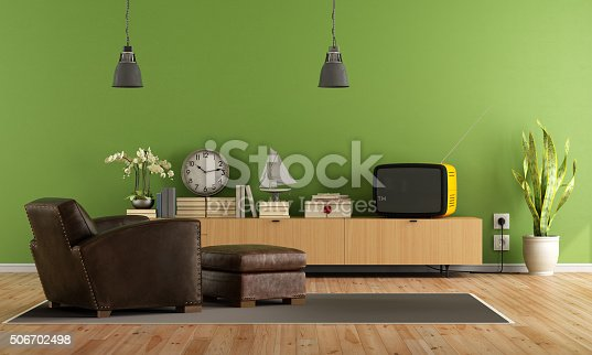 Vintage living room with retro  tv and leather armchair with hassock - rendering