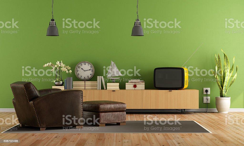 Green Living room with retro  tv stock photo