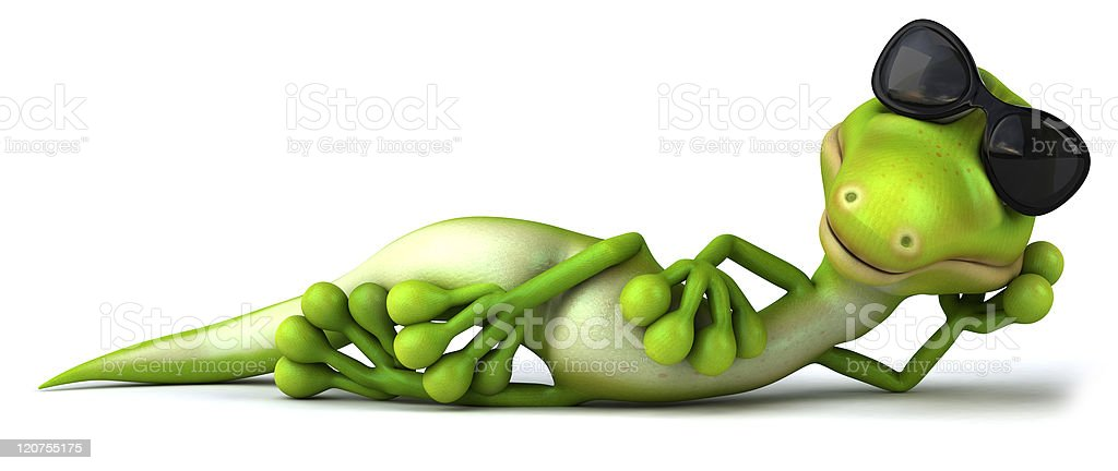Green lizard laying on floor wearing sunglasses royalty-free stock photo