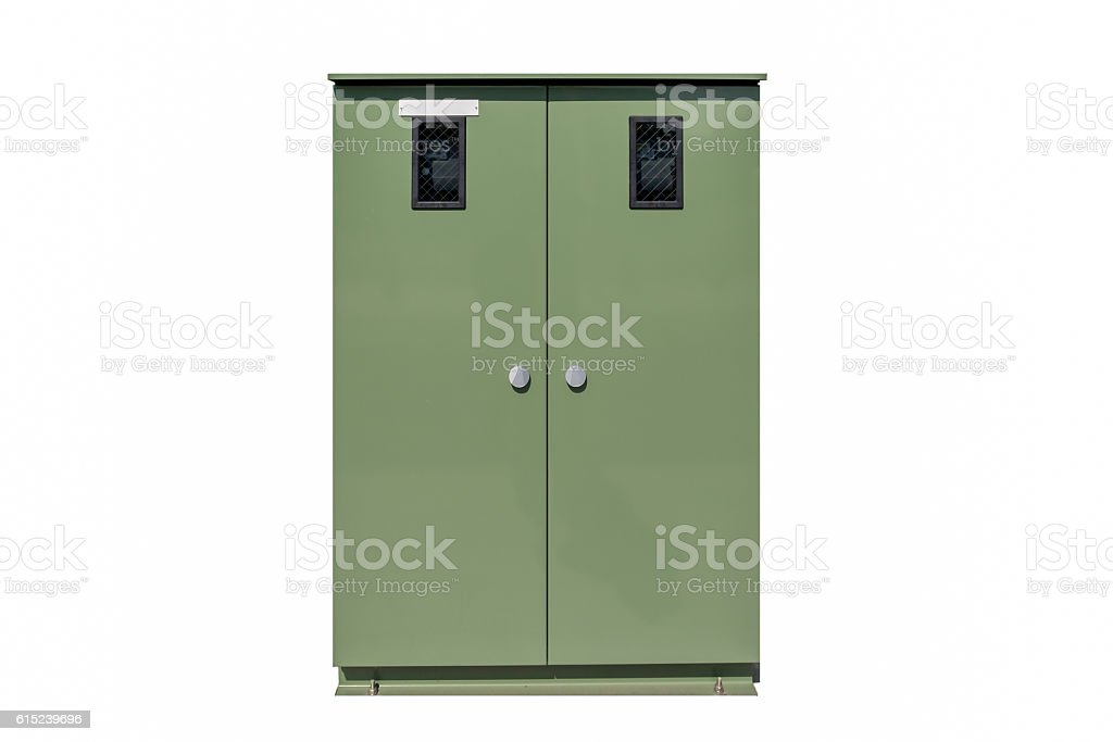 Green Locker Isolated on a White Background stock photo