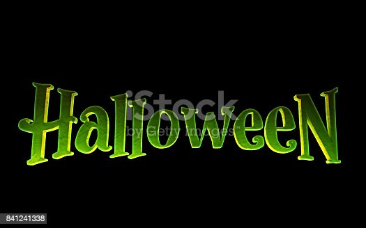 istock Green logo Halloween on a black background. 3d render 841241338