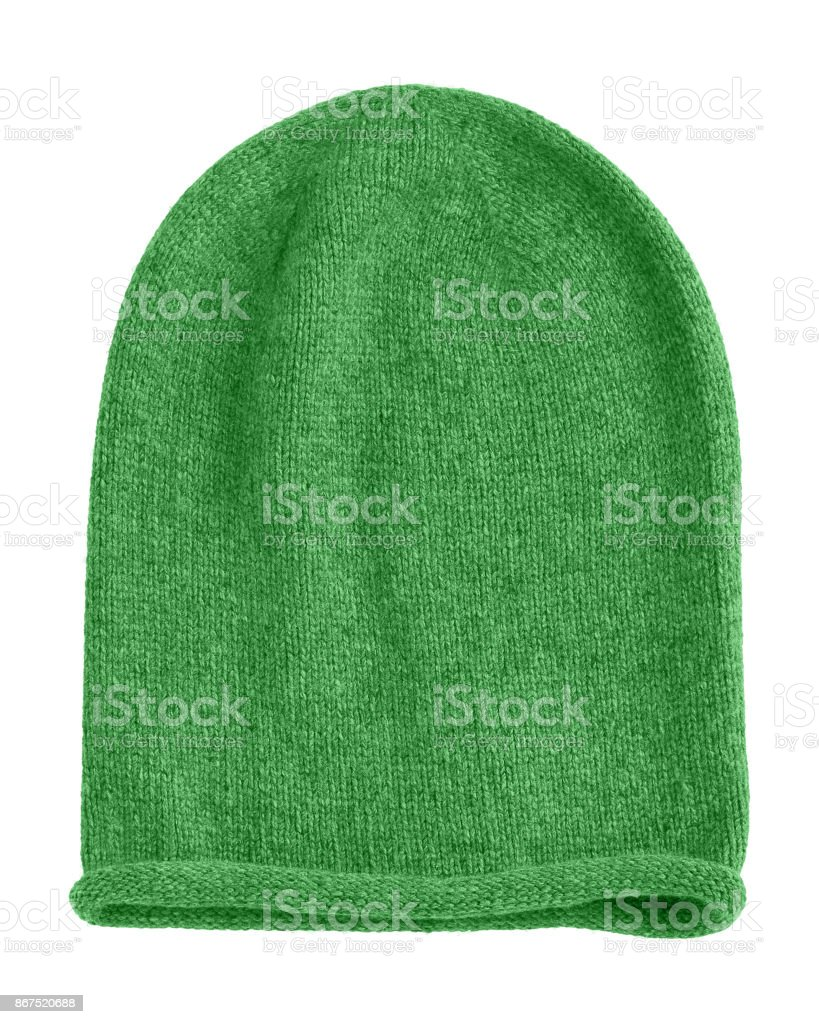 Green long beannie autumn hat isolated stock photo