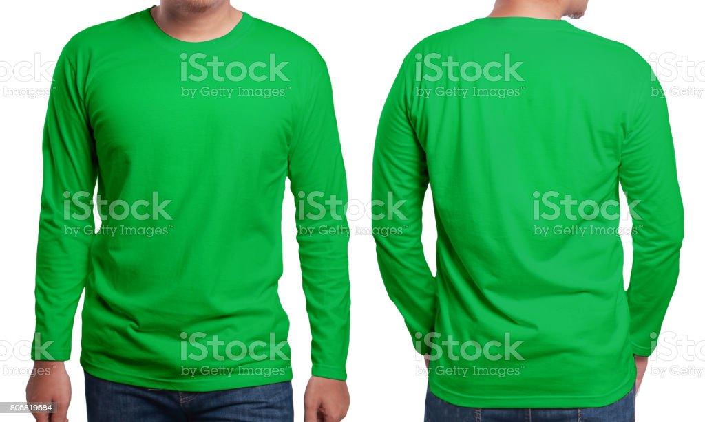 Green Long Sleeved Shirt Design Template stock photo