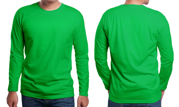 Green Long Sleeved Shirt Design Template Green long sleeved t-shirt mock up, front and back view, isolated. Male model wear plain green shirt mockup. Long sleeve shirt design template. Blank tees for print long sleeved stock pictures, royalty-free photos & images