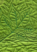 green machine quilted leaves