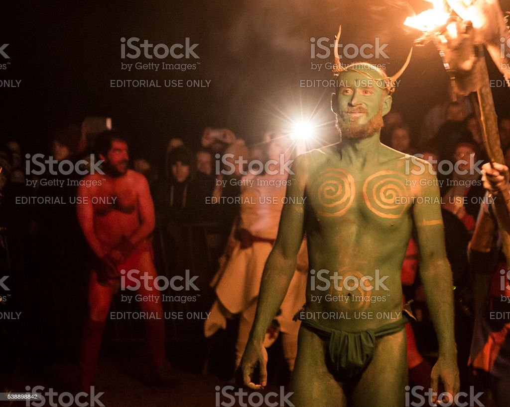 Green Man at the Beltane Fire Festival, Edinburgh stock photo