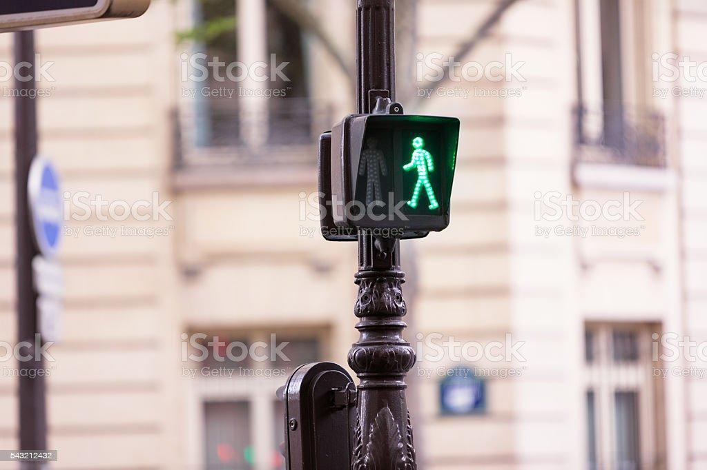 Green man pedestrian stop traffic light stock photo