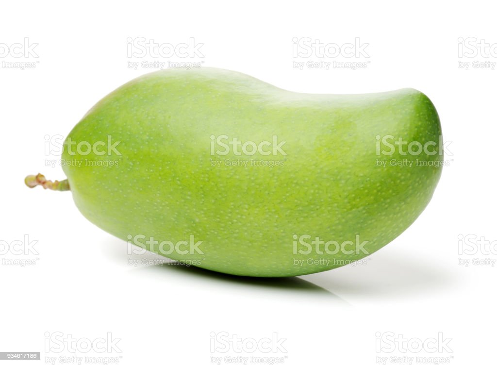 Green mango separated on a white background stock photo