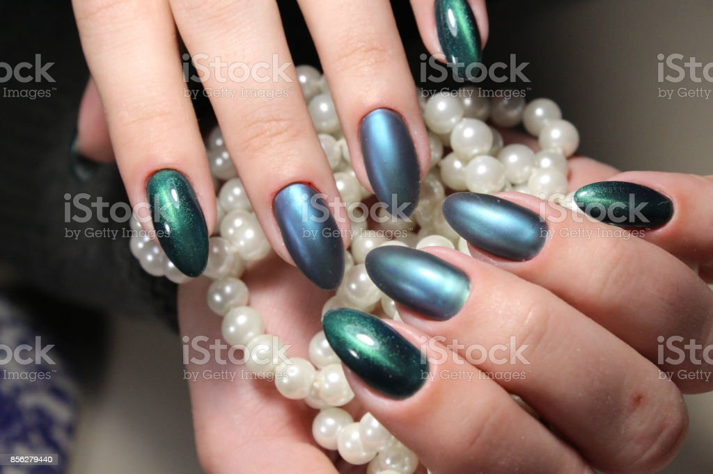 Green Manicure Nail Design With Pearls Stock Photo More Pictures