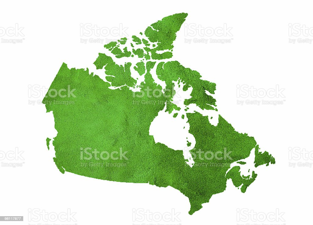 Green Map of Canada Isolated on White royalty-free stock photo