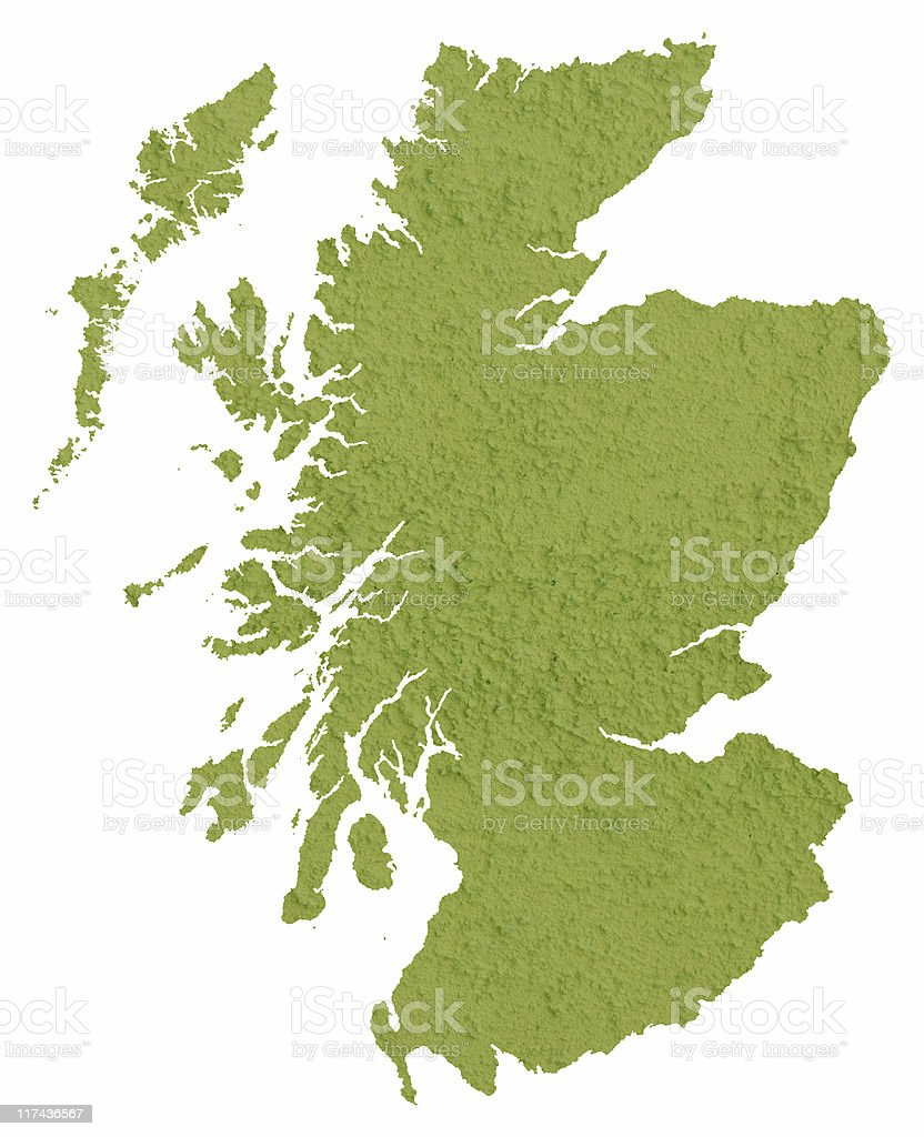 Green map of Scotland royalty-free stock photo