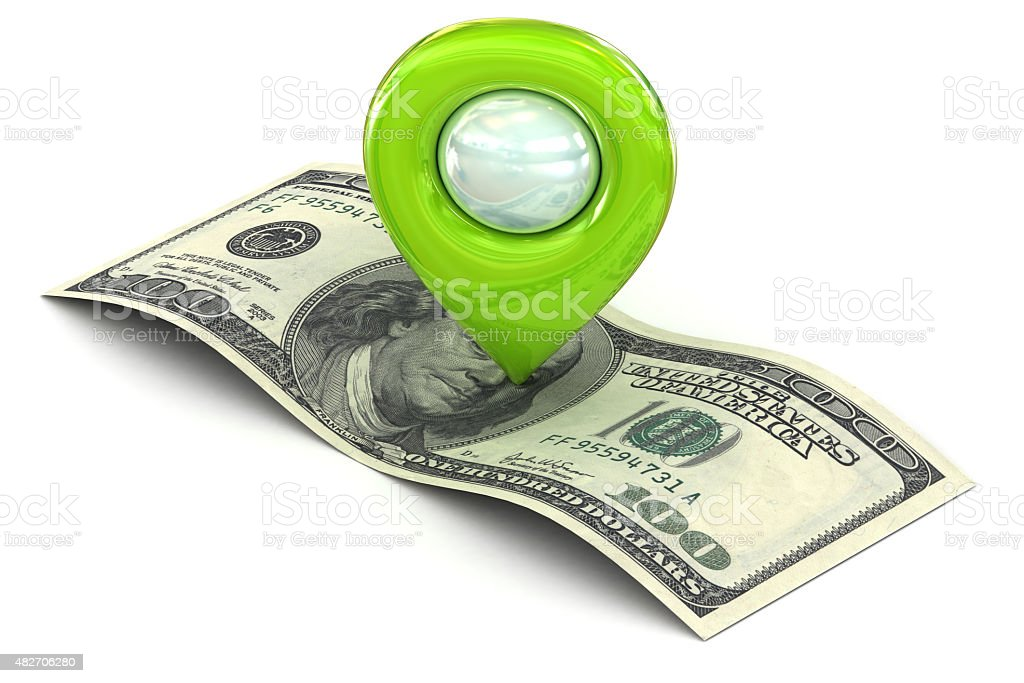 Green Map pointer marking wealth and successs stock photo