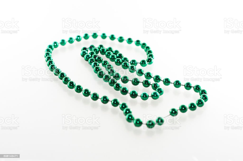 Green Mardi Gras Beads stock photo
