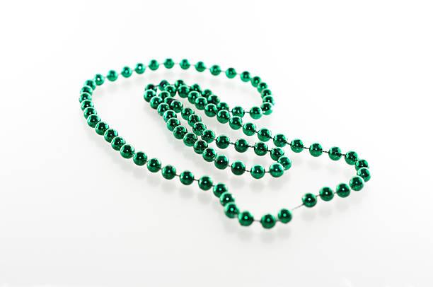 Green Mardi Gras Beads stock photo