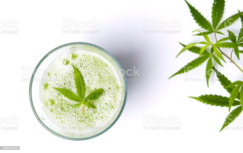 Green marijuana juice on white stock photo
